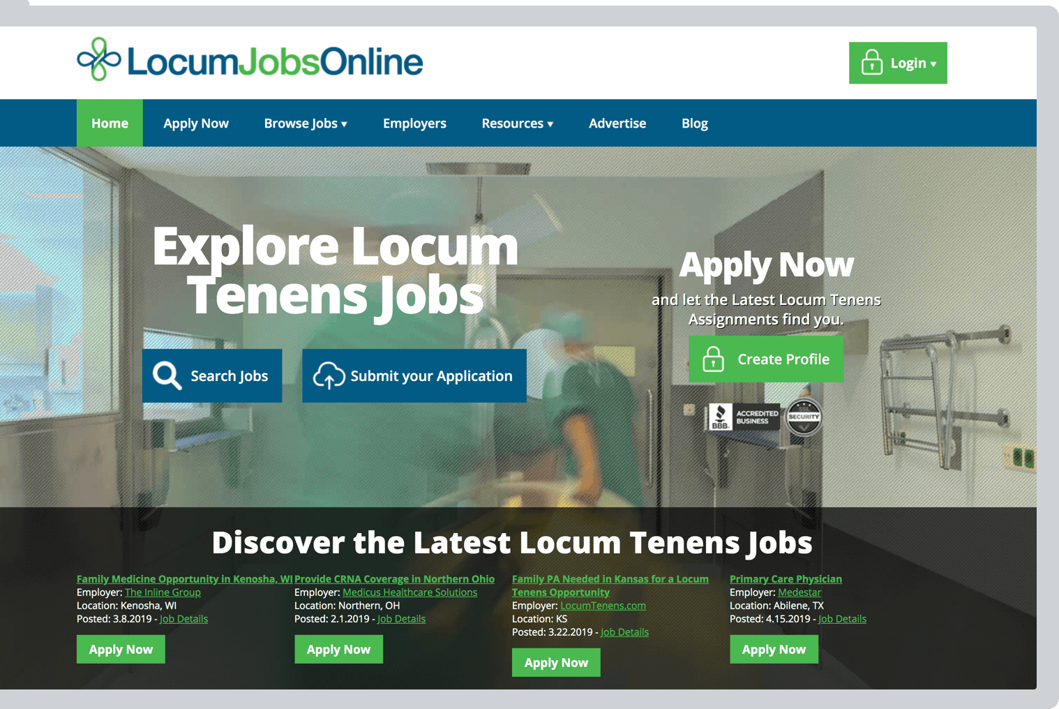 Locum Jobs Online website preview